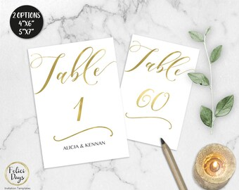 Gold Wedding Table Numbers, Printable Table Numbers, 1-60 Table Numbers, DIY Table Numbers Editable, 4x6 5x7, PDF Instant Download GW180