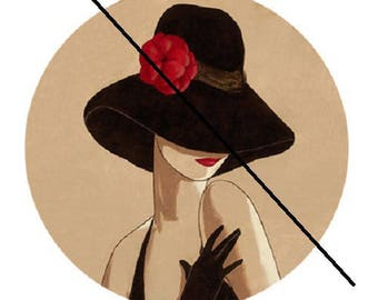 30mm, woman Hat Black and red flower