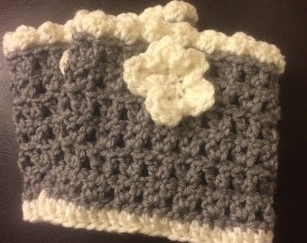 Grey and cream crocheted boot cuffs