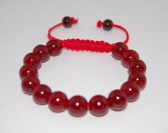 Burgundy Agate Bracelet,10mm Beads Bracelet,Drawstring,Shamballa Bracelet,Man,Woman,Healing,Prayer, Good Luck ,Yoga, Protection,Meditation
