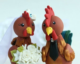 """Rooster and hen wedding cake topper, customizable bride and groom, bigger figurines more than 5"""" tall"""