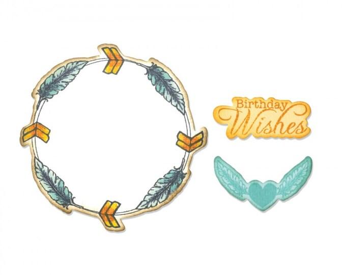 Sizzix Framelits Die Set 6PK w/Stamps - Feather Wreath by Jen Long 661131