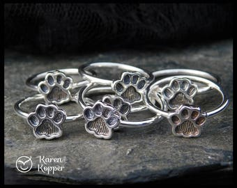 Size 6.5 ready to ship! Paw print sterling silver ring, cat paw ring, dog paw ring, bear paw ring. Stacking ring. 211