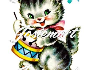 Vintage Digital Download Kitten with Drum Vintage Image Collage Large JPG