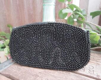 Beaded Coin Purse Vintage 1950's Black Clutch Zippered Japan Hand Beaded Handbag Apparel Accessory Purse Accessory