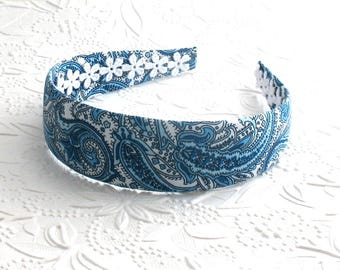 Blue Paisley Wide Womens / Adult Headband ~ Fabric Covered Headband