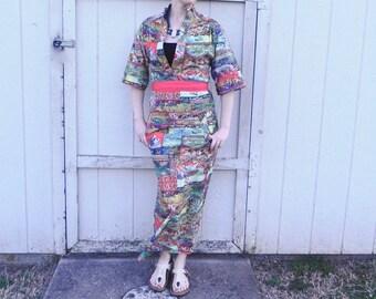 70s Vintage Kimono Dress