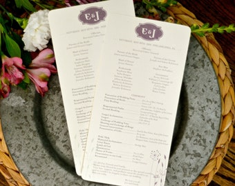 Purple Monogram Floral 5x8 Wedding Ceremony Program (one-sided) // BP1