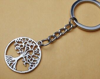 Silver Tree Keychain, Family Tree Keychain, Silver Tree Keyring, Tree Charm Keychain, Nature Keychain