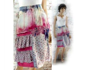 patchwork skirt - women's pink skirt - Bohemian Skirt, Gypsy Skirt, Festival Skirt, midi folk skirt - summer skirt -   # 3