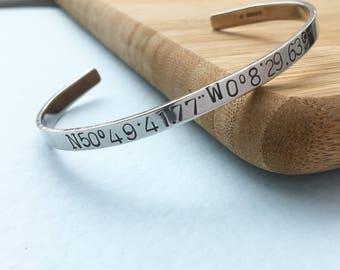 Coordinate Cuff | Silver Coordinate Bracelet | Matching Aniversary Gift |   Longatude and Latitude Jewellery