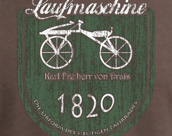 Early bicycle -  Laufmaschine - Bicycle prototype Tee Shirt - German - Cycling - Chestnut