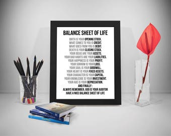 Balance Sheet Of Life, Birth Is Your Opening Stock, Business Quote, Life  Quote
