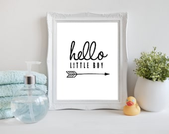 Hello little Boy art print, Printable Hello Wall Art, Modern Nursery Art Print, Black and White digital art, Instant download (BabyArt X7)