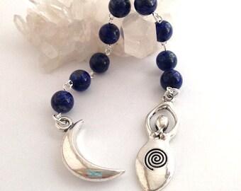 Lapis Lazuli Gratitude Beads // Goddess Prayer Beads // Pagan Prayer Beads