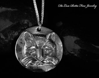 Recycled Silver, Cat, Pendant, Necklace, Eco Friendly