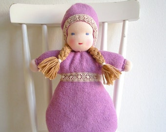 Waldorf doll, organic girl baby doll, natural, purple, violet, bunting, 11.5inch, soft, blue eyed, plush, cosy, can be vegan