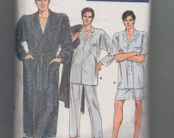 """Mens Easy to Sew Pajamas in 2 Lengths and Bathrobe Vogue 7079 Vintage 1987 Sewing Pattern Size XS to Medium Chest 30-40"""" *French Instruction"""