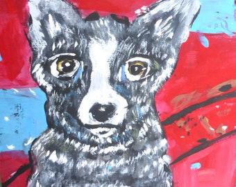 painting dog black white red art dog painting funky dog art on wood dog lovers