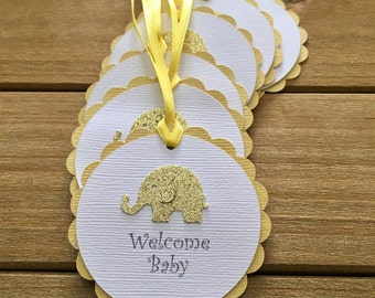12 Elephant Tags, Elephant Favor Tag, Elephant Baby Shower, Gender Neutral, Thank You Tag, Welcome Baby, Elephant party decoration