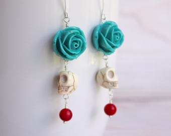 Day of the Dead Earrings - Dia De Los Muertos Earrings - Turquoise Rose Red Skull Earrings - Skull Earrings - Sugar Skull Earrings