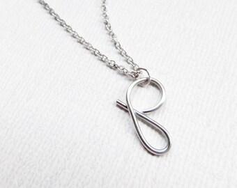 Monogram Necklace, Letter P Necklace, Silver Initial Necklace, Initial Charm, Cursive Letter Necklace, Letter Necklace, Initial Necklace
