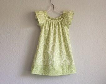Girls Sage Green Flutter Sleeve Dress - Green and Cream Damask Print Dress - Flower Girl Dress - Size 12m,18m, 2T, 3T, 4T, 5, 6 or 8