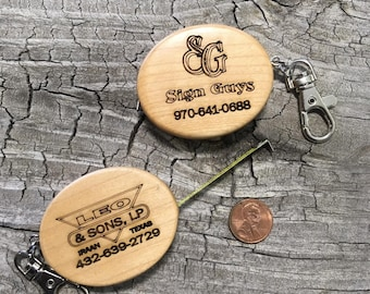 Custom engraved maple tape measure key chain, Custom Key Chain, 4 Pack