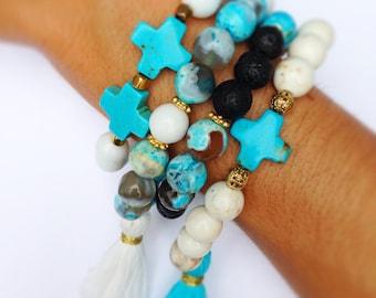 Tassel Bracelet, Boho Chic, Stackable Stretch Bracelets Set of 3