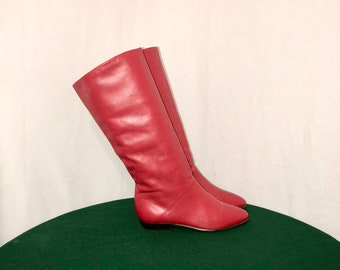 Sz 6.5 Vintage Tall Fire Engine Red Genuine Leather 1980s Women Flat Pirate Slouch boots.