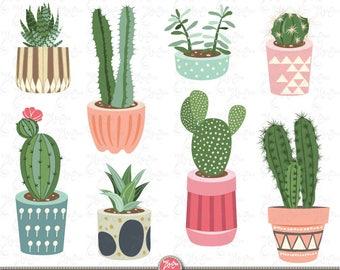 """Cactus clip art """"CACTUS CLIPART"""" pack, Succulent Clipart, Tribal Clipart, Cacti, Cactuses pots, plant, 9 images Png files 300 dpi. Ct001"""