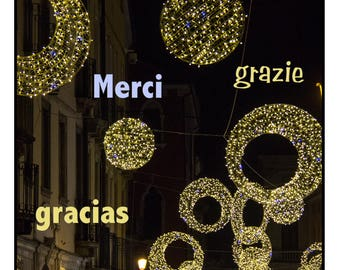 10 Italian Christmas Market Thank You Cards with different languages