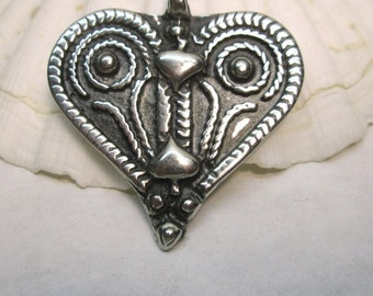 Silver Heart Pendant African Pewter Heart, Tribal Design Heart, Pewter Heart,