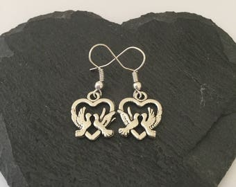 Dove earrings / dove jewellery / bird jewellery / heart jewellery / animal earrings / animal jewellery / animal lover gift