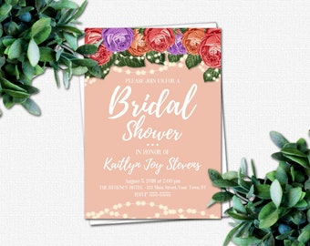 Wedding Shower Invitation - DIY Bridal Party Invitations - PRINTABLE Bridal Shower Invitations - 4 Color Choices   Roses & Sparkles Colors