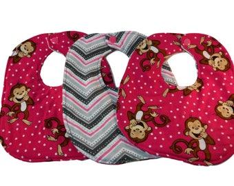 Baby girl pink polka dots teething bib - infant monkey - baby nursery accessories - drool bib