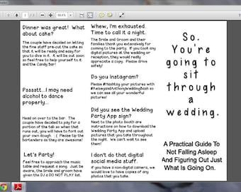 Funny, Customisable Wedding Program