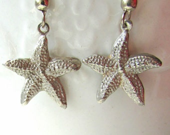 Starfish silver earrings, Starfish Earrings, Silver Starfish Earrings