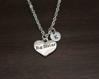 Big Sister Necklace - Big Sister Gift - New Big Sister - Baby Announcement - Carved - I/B