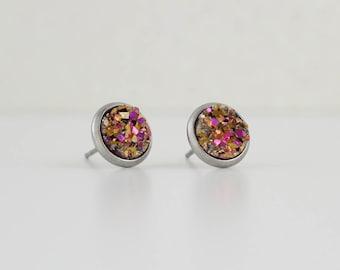 Pink Gold Druzy Crystal Earrings | ATL-E-162