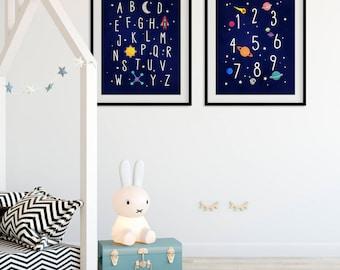 Outer Space Nursery Alphabet and Numbers Wall Art Rocket Ship Nursery Print Set Space Kids Art Prints Playroom ABC Printable Alphabet Poster