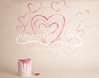 INSTANT DOWNLOAD-Valentines Day Paint Bucket Backdrop! Newborn Photo prop! Digital Backdrop!