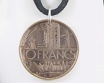 1974 French Coin Necklace, 10 Francs, Coin Pendant, Mens Necklace, Womens Necklace, Leather Cord, Vintage