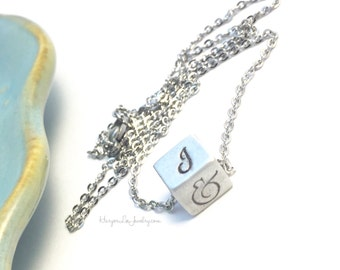 Pewter Square ~ Cube Necklace ~ Initial Jewelry ~ Block Charm ~ Family Initials ~ Anniversary Date Necklace ~ Horizontal Bar Necklace