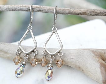 Sterling Silver Crystal Beaded Dangle Earrings, Boho Beaded Earrings, Crystal Bead Jewelry, Beaded Chandelier Earrings, Boho Sterling