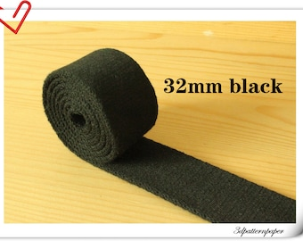 5 yards of 1.25 inch (32mm)  Heavy weight cotton webbing Black ZD10
