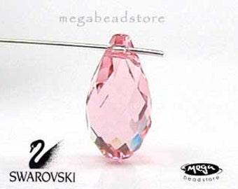 6 pcs 11mm Light Rose Pink 6010 Swarovski Crystal Briolette Tear Drop