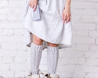 leg warmers Over knee womens leg warmers Light grey leg warmers Grey over knee socks Cozy merino wool leg warmers Hand knitted leg warmers