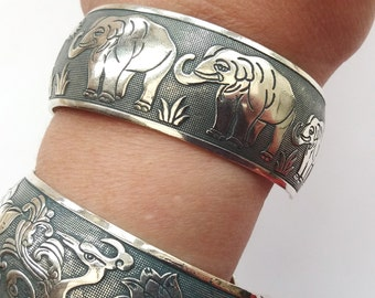 Silver Elephant Bracelet, Elephant Bangle, Slate Gray Patina, Silver Bangle, Boho Jewelry, Ethnic, Elephant Jewelry
