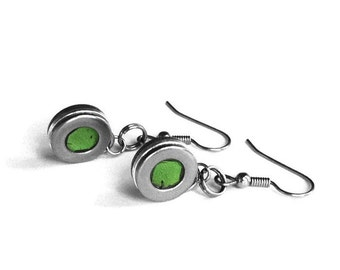 Stainless Steel Earrings for Women, Jewelry for Sensitive Skin, Rocker Chick, Silver and Green Washer Jewellery